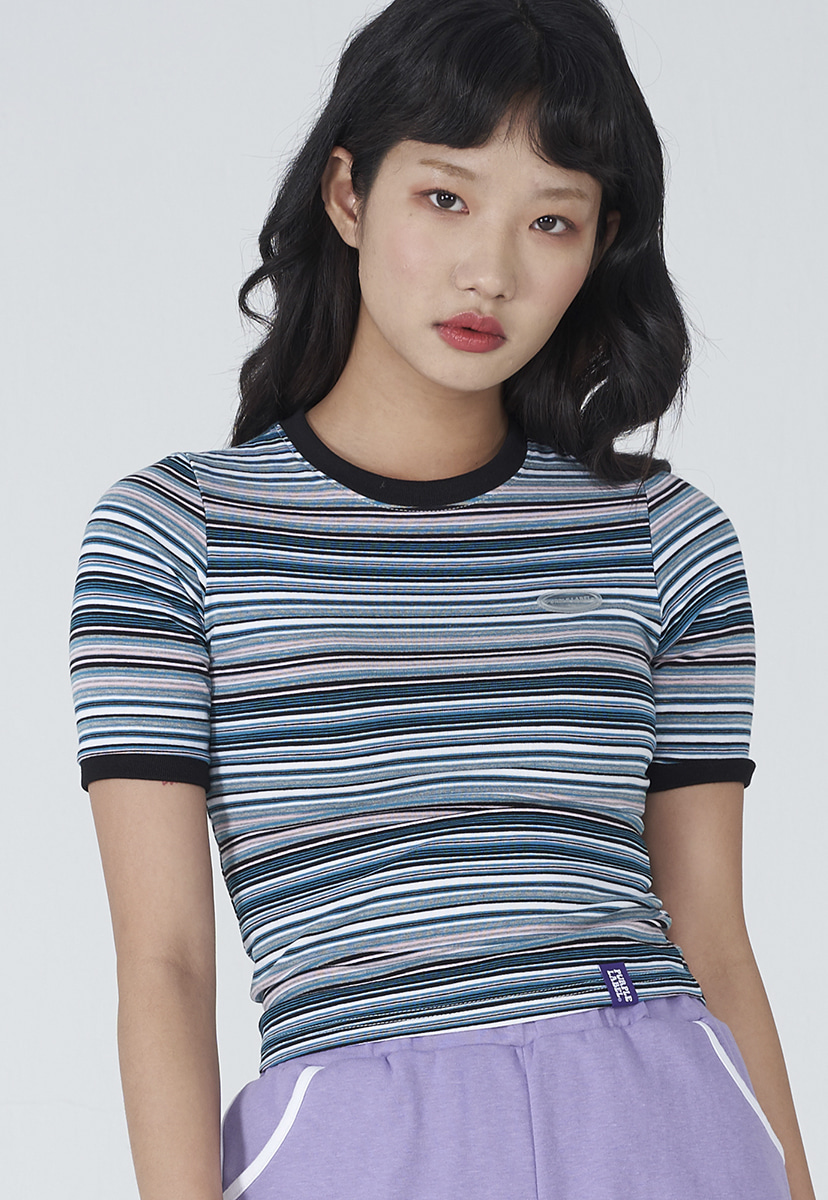 [퍼플라벨] Purple label stripe crop tee (PT0013-1)
