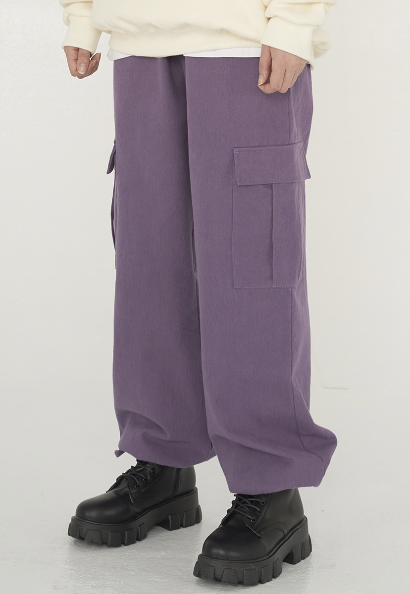 [퍼플라벨][기모] wide cargo string pants (PP0013g-1)