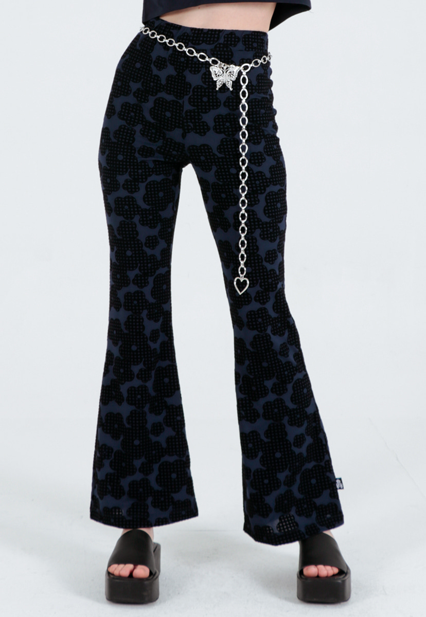 [퍼플라벨] flocking check flower boots cut pants (PP0017)